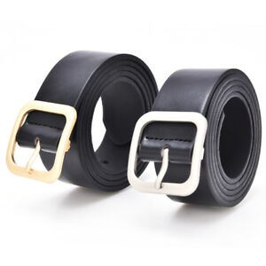 Fashion Womens Girls Belts Leather Square Metal Pin Buckle Waist Belt Waist_hg