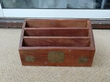 Wooden Letter Holder Box Organiser with Elephant Brass Inlay
