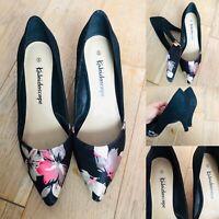 Beautiful KALEIDOSCOPE Shoes Slip On Black Floral Detail Wedding/Cruise UK 5