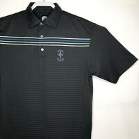 Footjoy FJ Mens Sz Large Golf Polo Shirt Polyester Spandex Stripe Short Sleeve