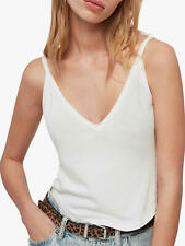 All Saints Womens Harla White Designer Sleeveless V Neck Vest Tank T-Shirt Tee
