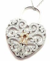 RARE Tiffany & Co Enchant Platinum 18k Gold Diamond Heart Lock Pendant Necklace