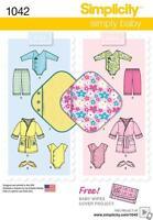 SIMPLICITY SEWING PATTERN BABIES LAYETTE BODY SUIT ROBE BOTTIES BLANKET 1042