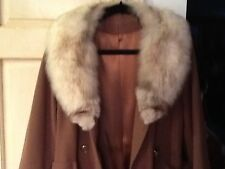Classic Vintage Womens Full-Length Winter Wool Blend Coat W/ Real Fur Trim Sz M