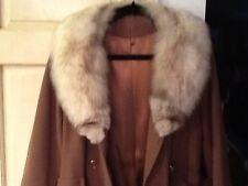 Classic Vintage Womens Full-Length Winter Wool Blend Coat W/ Real Fur Trim Sz M