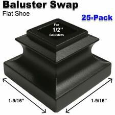 Baluster Swap Flat Shoes for Metal Balusters (25-Pack) NO Screw (Satin Black)