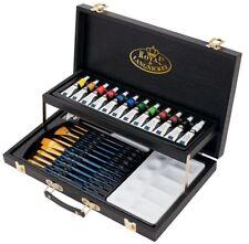 28 Piece Acrylic Art Set Black Series Paint Brushes Palette Wooden Case Box 4204