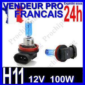 AMPOULE H11 XENON 100W LAMPE POUR VOITURE FEU SUPER WHITE PHARE 12V PLASMA 6500K