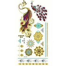 Temporäre Tattoos Pfau Pfauenfeder Mehndi Mandala Design Temporary Klebetattoo