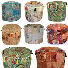 "18"" Handmade Ottoman Ethnic Cover Indian Pouffe Foot Stool Patchwork Decor Cover"