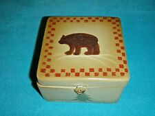 "RUSTIC WOOD BOX 5"" GREEN WITH BROWN BEAR ON TOP AND EVERGREEN TREES ON SIDES"
