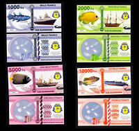 ★★ ILES GLORIEUSES ● TAAF ● COLLECTION DE 4 BILLETS : 1000 A 10000 FRANCS ★