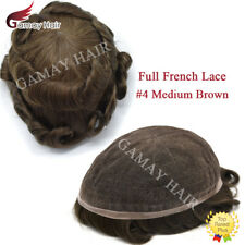 All Lace Mens Toupees Full French Lace Hair System Medium Brown Human Hair Piece