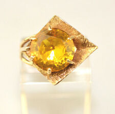 VINTAGE 10K YELLOW GOLD MODERNIST 2.5 CT. CITRINE RING UNUSUAL SETTING SIZE 5.25