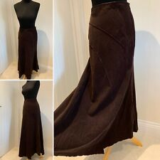 M&S Per Una Needle Cord Maxi Skirt Size UK 10 Brown Panelled Long Corduroy
