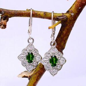Natural Chrome Diopside Dangle Earrings Pair Sterling Silver Lever Back Hooks