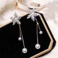 Women Glitter Crystal Flower Pearl Rhinestone Ear Stud Dangle Earring Jewelry JP