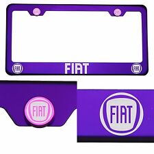 T304 Candy Purple License Plate Frame Stainless Steel Silver Fiat Laser Etched
