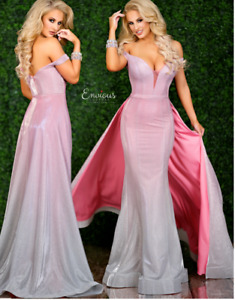 PINK OMBRE GLITTER EVENING PROM GOWN WITH DETACHABLE TRAIN BNWT SIZE US6