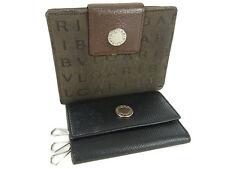 Auth BVLGARI Logos Pattern Key Case Finder Compact Wallet 2P Set 14642i