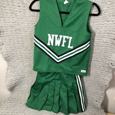 Adult Cheer Leader outfit costume Role Play Green Black & White Stripes - Size S