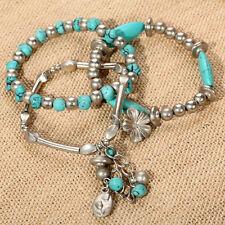 Mutil-layer Jewelry shuttle turquoise flower chain bead Pendant  bangle bracelet