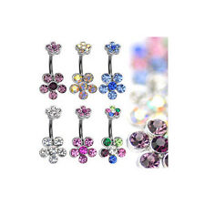 B#108 - 6pc Double Flower Belly Rings 14g Naval Belly 316L Surgical Steel