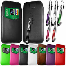 CARD SLOT PU LEATHER PULL FLIP TAB CASE COVER & RETRACTABLE PEN FOR HTC PHONES
