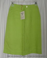"""NOS NWT Vintage 70's Corticelli Lime Green Rayon Linen Skirt Size 7 Waist 22"""""""