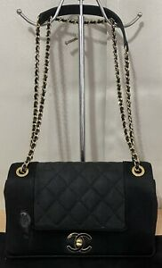 Chanel Mademoiselle Vintage Black Canvas Small Flap Crossbody Shoulder Bag