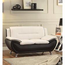 Kingway Furniture Montac Faux Leather Living Room Loveseat - Black/Beige