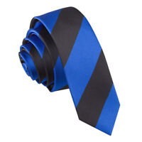 DQT Men's Skinny Tie Woven Striped Royal Blue & Black Formal Wedding Necktie