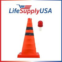 "Collapsible 18"" Reflective Pop Up Safety Extendable Traffic Cone w LED Light"