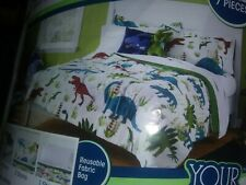 Your Zone Full Size Bedding Set Dinosaurs Kids Red Green Blue Microfiber
