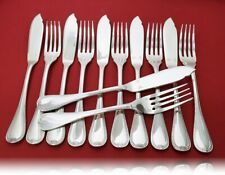 CHRISTOFLE Malmaison Fischbesteck 12 tlg. 6 Gabeln und 6 Messer, 120er Silber