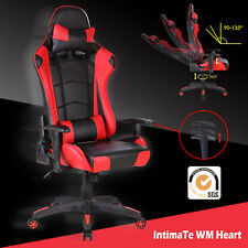 Racing Gaming Computer Office Chair Adjustable Swivel Executive Recliner Leather Red