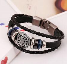 Cool Punk Fashion Bracelet Jewelry Leather Infinity Charm Cuff Bangle Wrap Women