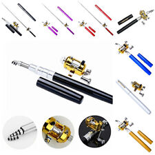 LOWEST PRICE GOLD Pen Fly Fishing Rod Mini Portable Pocket Pole Reel