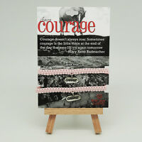 TRUST YOUR JOURNEY Set of 2 SHARE COURAGE Bracelets, Pewter, Pink Cord