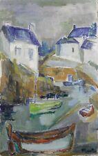 Ecole bretonne Ancienne huile / toile Vue présumée de Pont aven Bretagne France