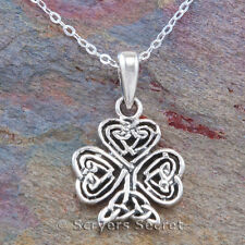 "CELTIC SHAMROCK Heart knot work charm Pendant 18"" Necklace 925 Sterling Silver"