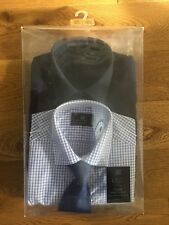 "M&S COLLECTION SHIRT AND TIE SET 2 PACK SIZE 14.5"" ** BNIB **"