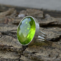Oval Faceted Peridot Quartz 925 Sterling Silver Handmade Gift Ring Size 8