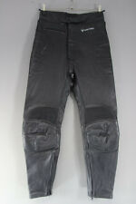 FRANK THOMAS BLACK LEATHER BIKER TROUSERS: WAIST 30 INCHES/INSIDE LEG 28 INCHES