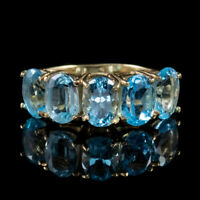 VINTAGE 5CT BLUE TOPAZ RING 9CT GOLD