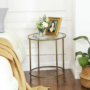 Nachttisch Rund Beistelltisch Sofatisch Couchtisch Robustes Hartglas Gold LGT20G