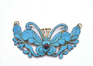 1900's Chinese Kingfisher Feather Gilt Pendant Hair Pin Butterfly & Flower