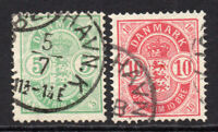 Denmark Two Stamps 5 & 10 Ore c1884-88  Used  (4283)
