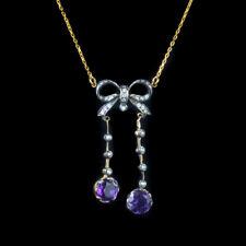 AMETHYST DIAMOND PENDANT NECKLACE SILVER 18CT GOLD CHAIN
