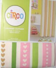Circo Love & Nature Owls Stripe Fabric Shower Curtain Kids Bath Pink NEW